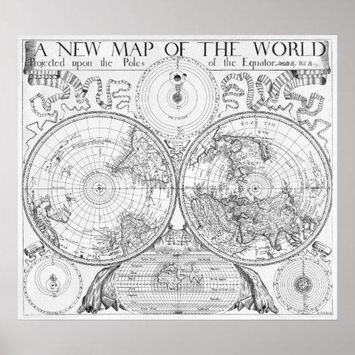 Mapa de la antigüedad de la reproducción del poste posters