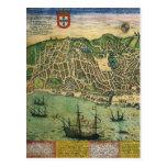 Mapa de la antigüedad del vintage; Plan de ciudad  Postal