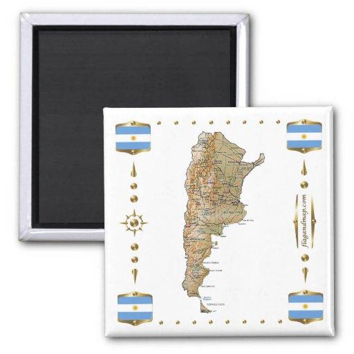 Mapa de la Argentina + Imán de las banderas