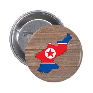 Mapa de la bandera de Corea del Norte del equipo Chapa Redonda 5 Cm