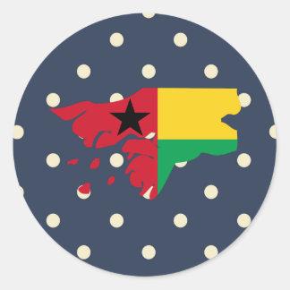Mapa de la bandera de Guinea-Bissau en lunares Pegatina Redonda