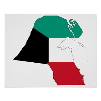 Mapa de la bandera de Kuwait Póster