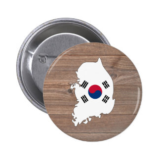 Mapa de la bandera de la Corea del Sur del equipo Chapa Redonda 5 Cm