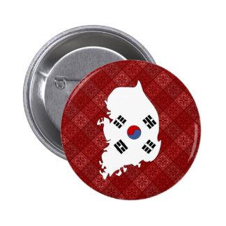 Mapa de la bandera de la Corea del Sur del mismo t Chapa Redonda 5 Cm