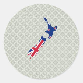 Mapa de la bandera de Nueva Zelanda del mismo Pegatina Redonda