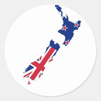 Mapa de la bandera de Nueva Zelanda Etiquetas Redondas
