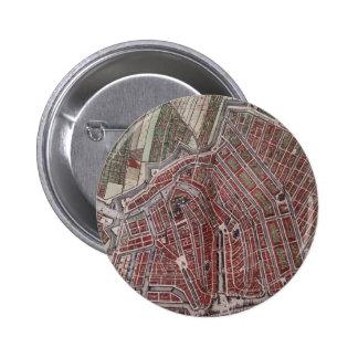 Mapa de la ciudad de la reproducción de Amsterdam Chapa Redonda De 5 Cm