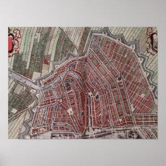 Mapa de la ciudad de la reproducción de Amsterdam Póster