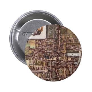 Mapa de la ciudad de la reproducción de La Haya Chapa Redonda De 5 Cm