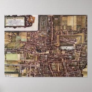 Mapa de la ciudad de la reproducción de La Haya Póster