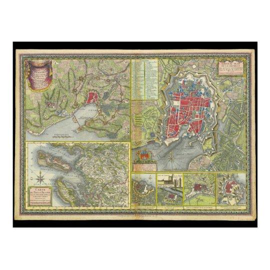 Mapa de la ciudad de La Rochelle y de Aunis Postal