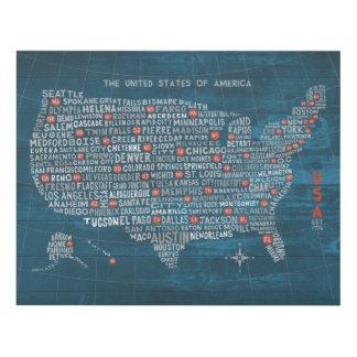 Mapa de la ciudad de los E.E.U.U. en el azul de Cuadro