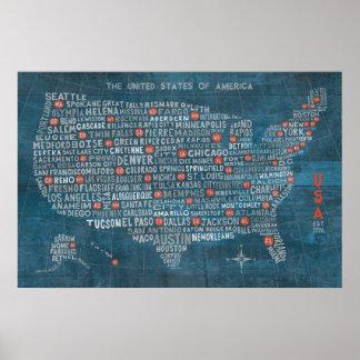 Mapa de la ciudad de los E.E.U.U. en el azul de Póster