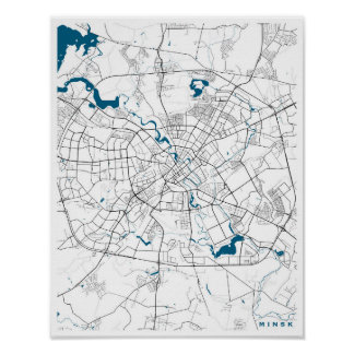 Mapa de la ciudad de Minsk Póster