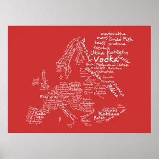 Mapa de la comida de Europa (roja) Póster