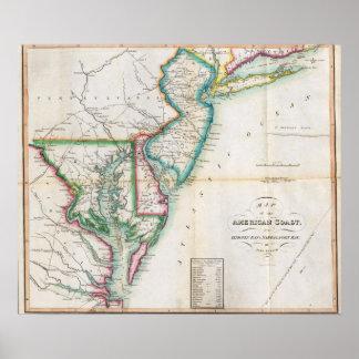 Mapa de la costa americana póster