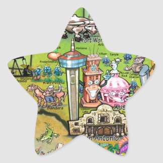 Mapa de la diversión de Tejas Pegatina En Forma De Estrella