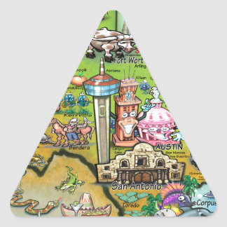 Mapa de la diversión de Tejas Pegatina Triangular