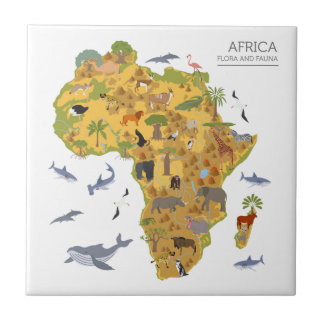 Mapa de la flora y de la fauna de África el | Azulejo De Cerámica