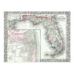 Mapa de la Florida y móvil antiguos, Alabama Tarjetas Postales