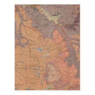 Mapa de la geología, pieza nacional de Yellowstone Postal
