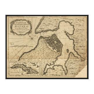 Mapa de La Habana, Cuba (1762) Impresión En Lienzo