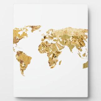 Mapa de la hoja de oro placa expositora