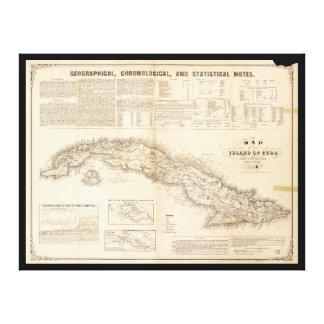 Mapa de la isla de Cuba (1855) Impresión En Lienzo
