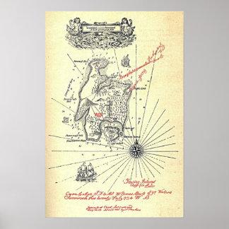 Mapa de la isla del tesoro de Robert Louis Póster
