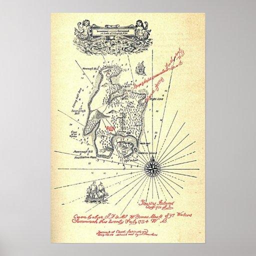 Mapa de la isla del tesoro de Robert Louis Stevens Poster
