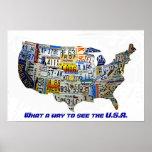 Mapa de la placa de Estados Unidos Posters