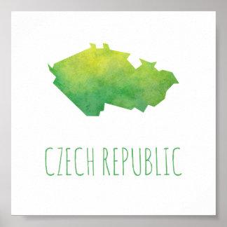 Mapa de la República Checa Póster
