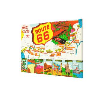 Mapa de la ruta 66 de Los Ángeles a Chicago Lienzo Envuelto Para Galerías