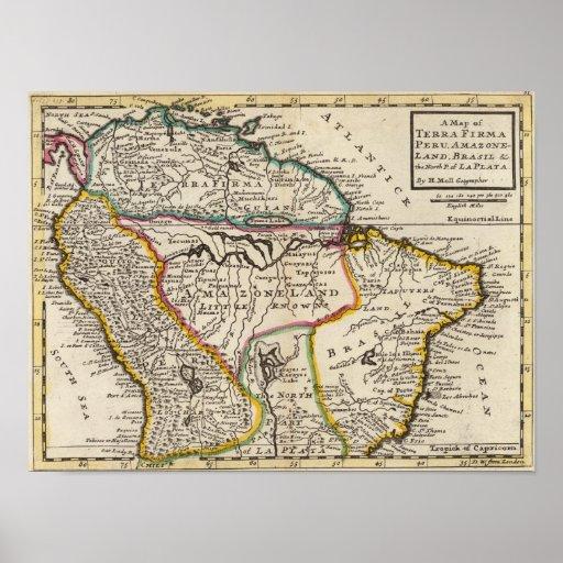 Mapa de la tierra Firma, Perú, tierra de Amazone,  Posters