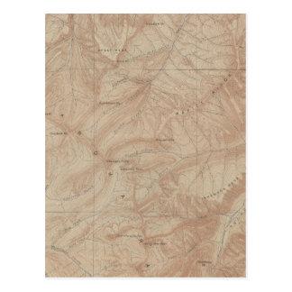 Mapa de la topografía pieza nacional de Yellowsto Tarjeta Postal