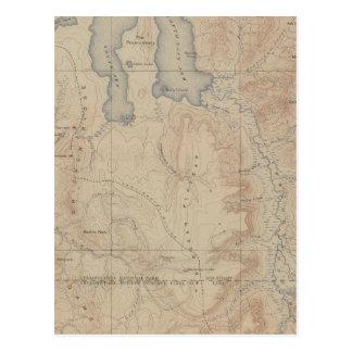 Mapa de la topografía pieza nacional de Yellowsto Postal