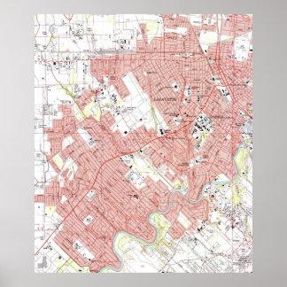 Mapa de Lafayette Luisiana (1983) Póster