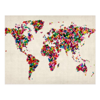 Mapa de las mariposas del mapa del mundo postal