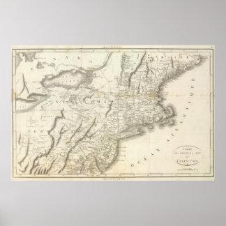 Mapa de las provincias de los Estados Unidos Posters