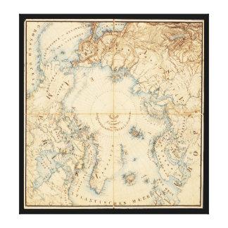Mapa de las regiones árticas y adyacentes (1855) impresión en lienzo