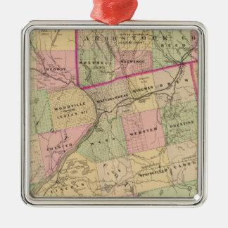 Mapa de las tierras 3 de la madera adorno navideño cuadrado de metal
