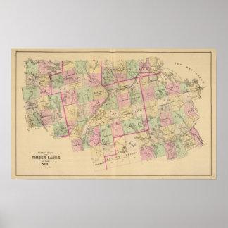 Mapa de las tierras 3 de la madera impresiones