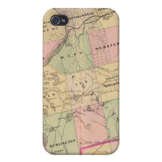 Mapa de las tierras 3 de la madera iPhone 4 protector