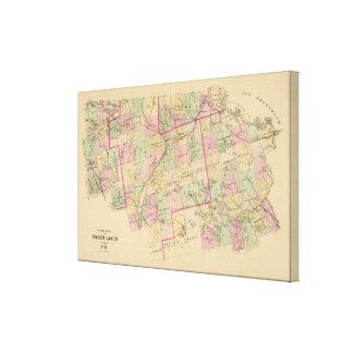 Mapa de las tierras 3 de la madera impresiones en lienzo estiradas