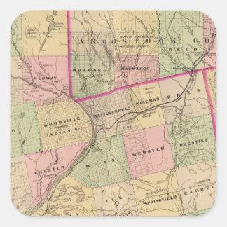 Mapa de las tierras 3 de la madera pegatina cuadrada