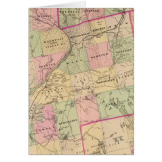 Mapa de las tierras 3 de la madera tarjeta de felicitación