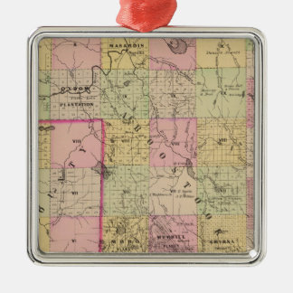 Mapa de las tierras 4 de la madera adorno navideño cuadrado de metal
