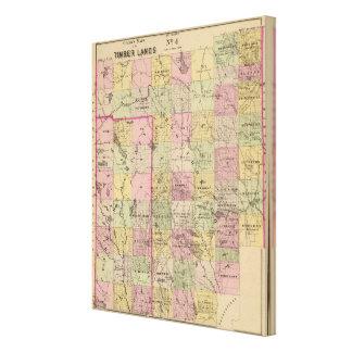 Mapa de las tierras 4 de la madera impresión en tela