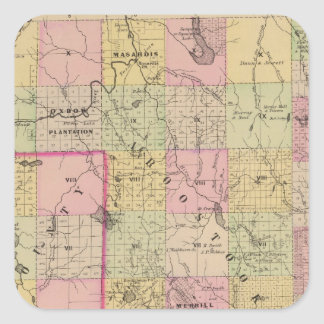 Mapa de las tierras 4 de la madera pegatina cuadrada