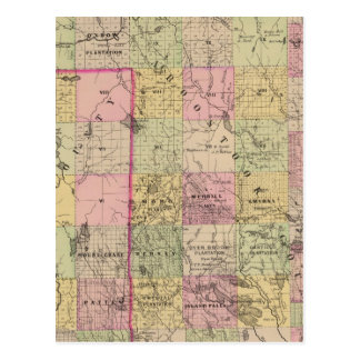 Mapa de las tierras 4 de la madera postal